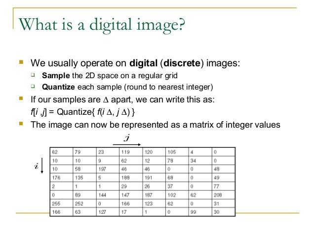 What is a digital image? We usually operate on digital (discrete) images: Sample the 2D space on a regular grid Quantiz...