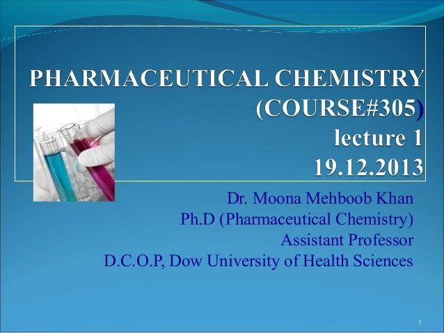 Dr. Moona Mehboob Khan Ph.D (Pharmaceutical Chemistry) Assistant Professor D.C.O.P, Dow University of Health Sciences  1