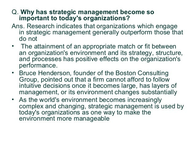 need and importance of strategic management