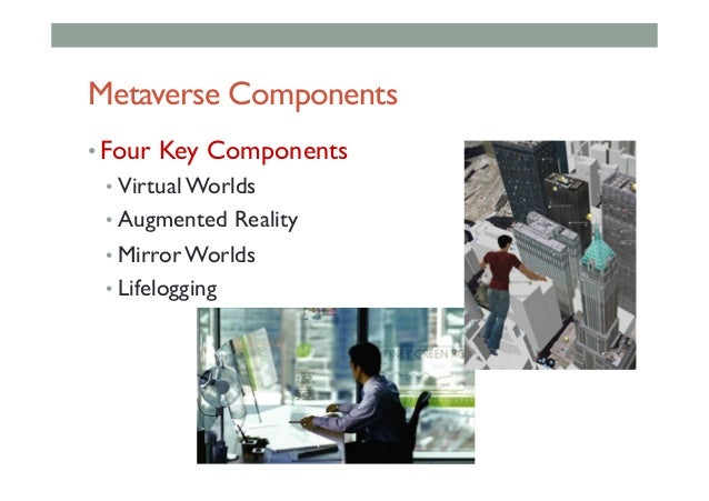 Metaverse Components •Four Key Components •Virtual Worlds •Augmented Reality •Mirror Worlds •Lifelogging