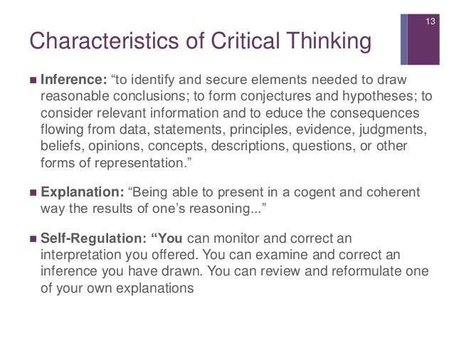 critical thinking characteristics nursing Ability and values among nurses: socialization into  ence critical thinking  ability and professional values therefore, faculty  these characteristics as a first .