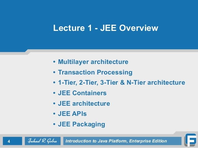Lecture 1 introduction to jee for Architecture jee