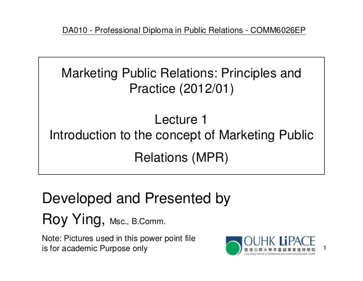 DA010 - Professional Diploma in Public Relations - COMM6026EP     Marketing Public Relations: Principles and              ...