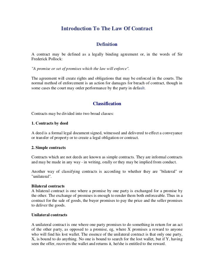 Introduction To The Law Of Contract DefinitionA ...  Legal Promise To Pay Document