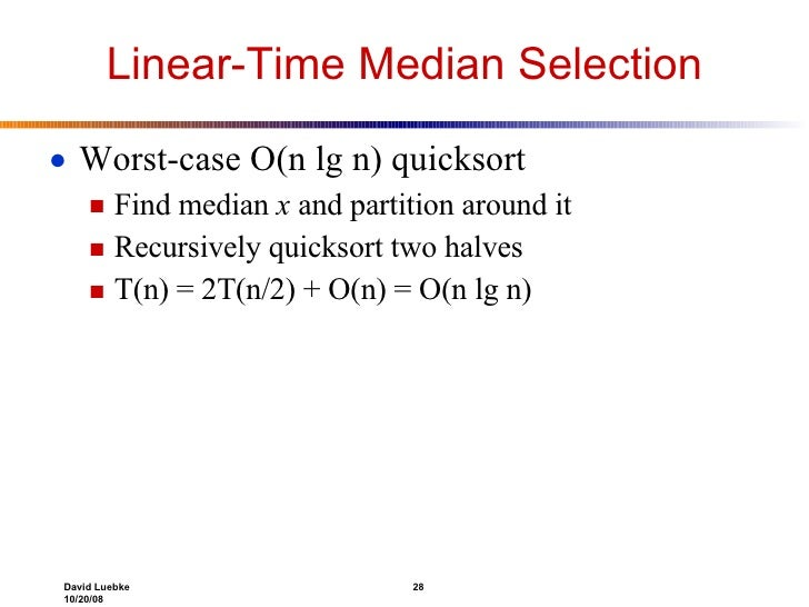 Lecture 10 28 linear time median ccuart Images
