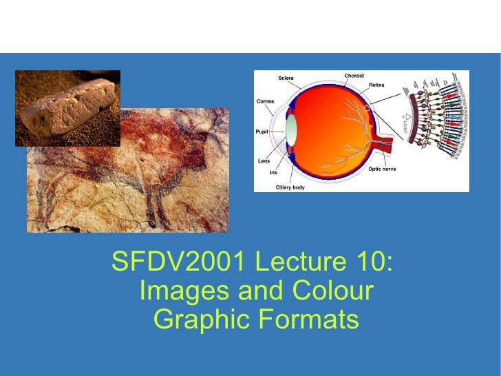 SFDV2001 Lecture 10:  Images and Colour  Graphic Formats