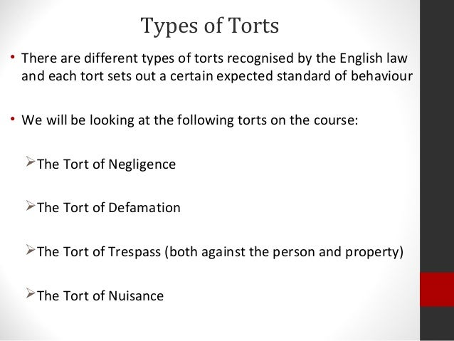 various classifications of law There are basically three types of torts: intentional torts negligence and strict liability an intentional tort is a civil wrong that occurs when the w(.