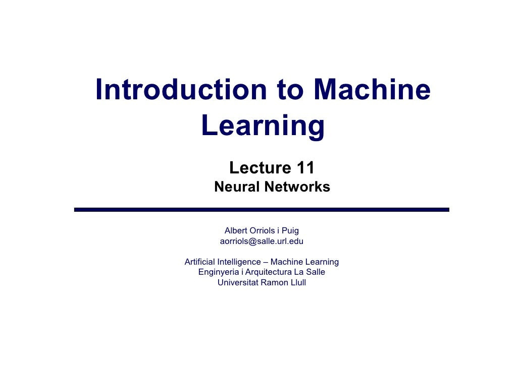 Lecture11 - neural networks