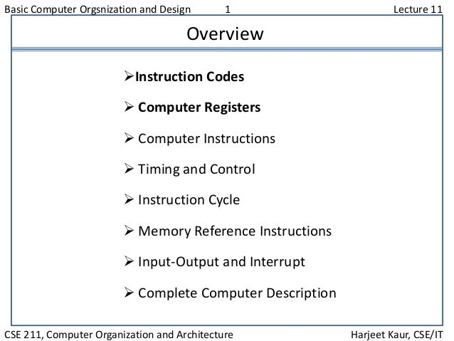 Basic Computer Orgsnization and Design 1 Lecture 11 CSE 211, Computer Organization and Architecture Harjeet Kaur, CSE/IT O...