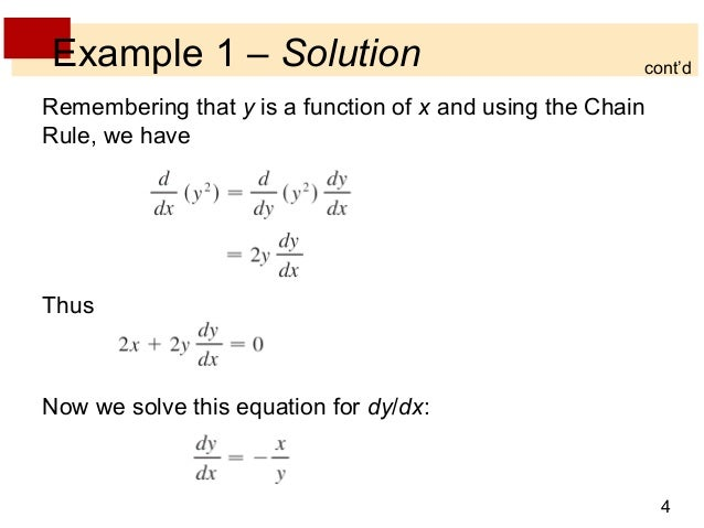 Lecture 11 Implicit Differentiation Section 35