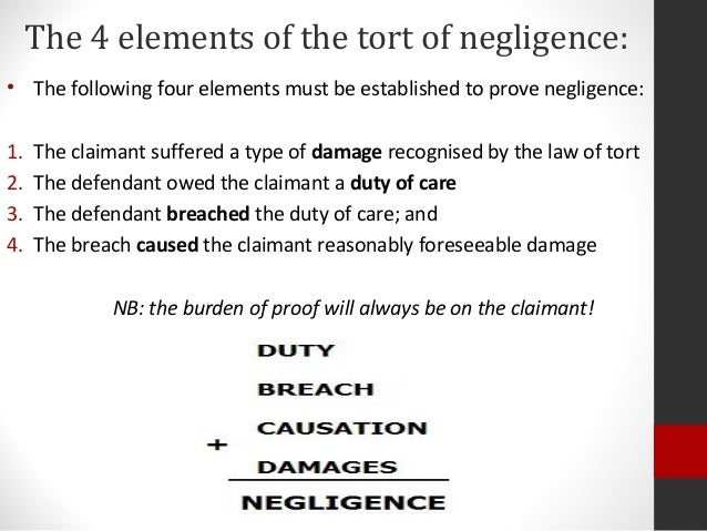 law with tort of negligence Negligence, in law, the failure to meet a standard of behaviour established to protect society against unreasonable risk negligence is the cornerstone of tort.