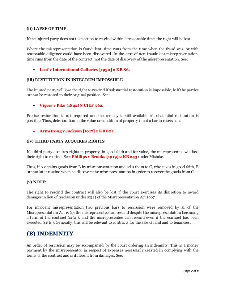 Lecture 11 misrepresentation - notes