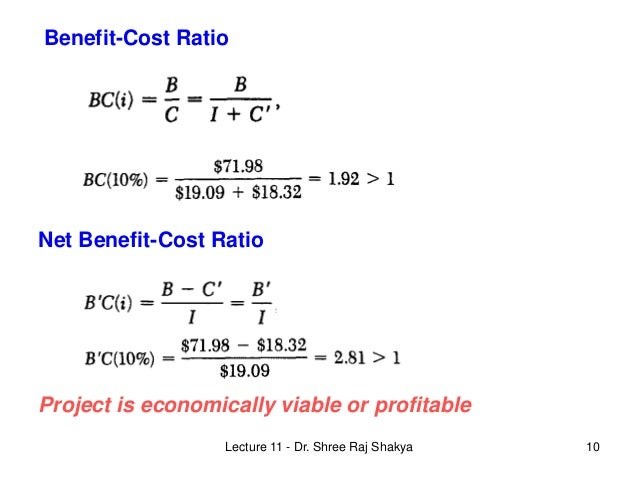 Lecture 11 Benefit Cost Analysis