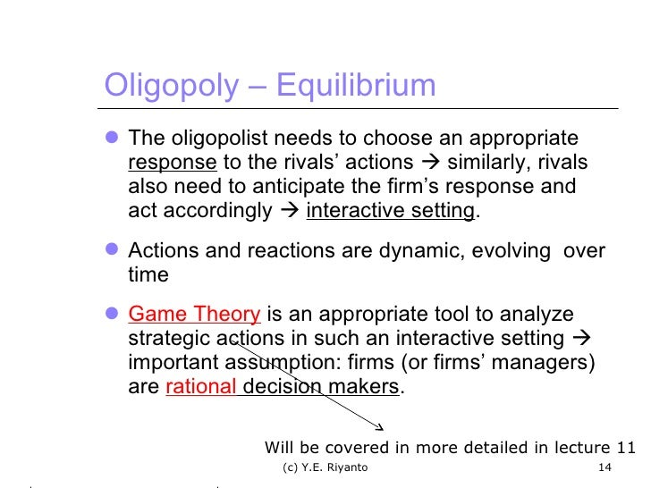game theory in setting quantity oligopoly essay The minimum wage and the state of microeconomics no, micro is not the good economics.