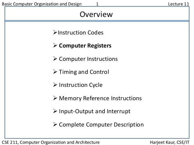 Basic Computer Orgsnization and Design 1 Lecture 11 CSE 211, Computer Organization and Architecture Harjeet Kaur, CSE/IT O...