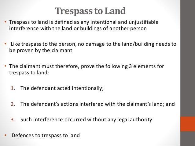 defences to trespass to land pdf