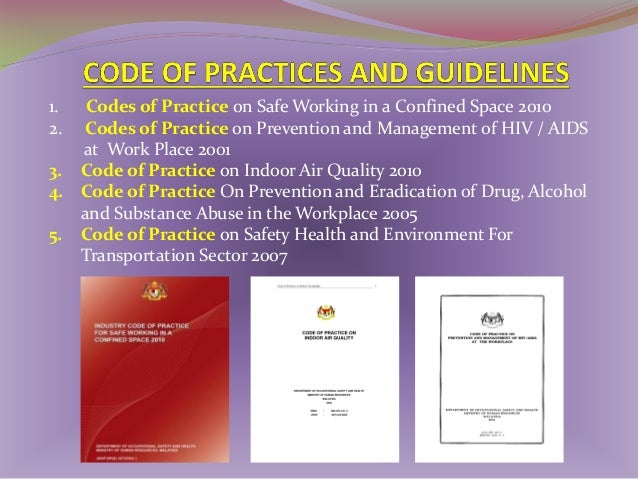 EXAMPLES OF GUIDELINES 1. Guidelines on First-Aids Facilities In the Workplace 2. Guidelines on Occupational Safety and He...