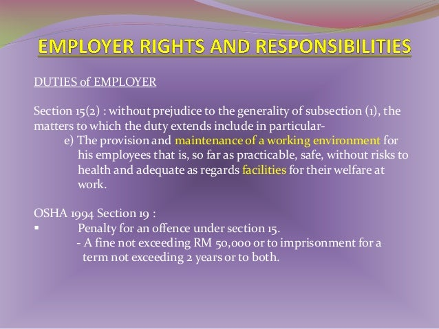 DUTIES of EMPLOYER & SELF EMPLOYED PERSONS 1)  Employer not to charge PPE on employees (SECTION 26).  2) Employer/ trade u...