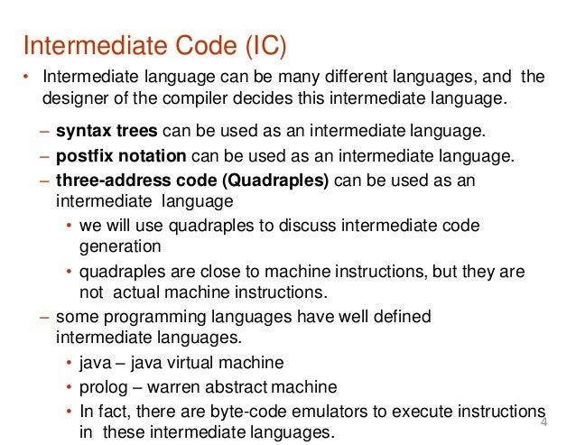 Lecture 12 intermediate code generation Code compiler