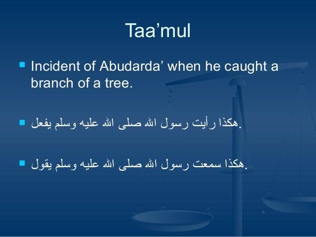 Taa'mul Incident of Abudarda' when he caught a .branch of a tree    .هكذا رأيت رسول ال صلى ال عليه وسلم ...