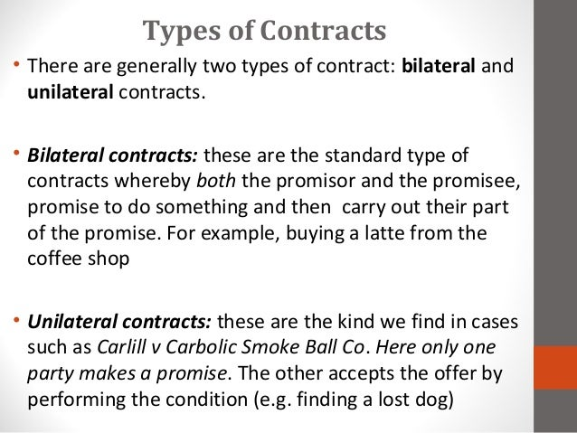 types of contract law
