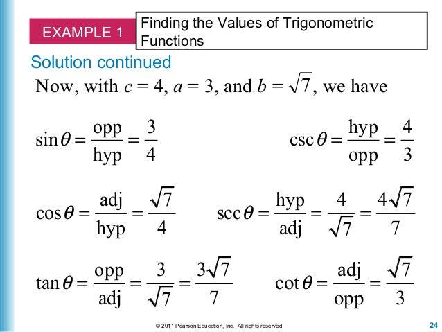 Six Trigonometric Functions Examples With Answers