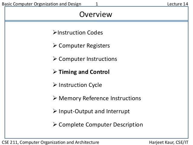 Basic Computer Orgsnization and Design 1 Lecture 14 CSE 211, Computer Organization and Architecture Harjeet Kaur, CSE/IT O...