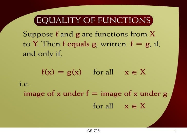 Equality of Functions – (17 - 2)