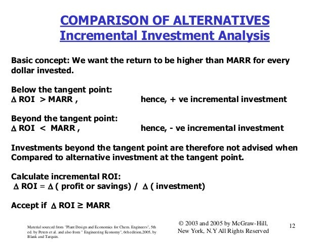 COMPARISON OF ALTERNATIVES Incremental Investment Analysis Basic concept: We want the return to be higher than MARR for ev...