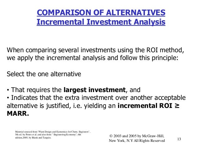 COMPARISON OF ALTERNATIVES Incremental Investment Analysis When comparing several investments using the ROI method, we app...