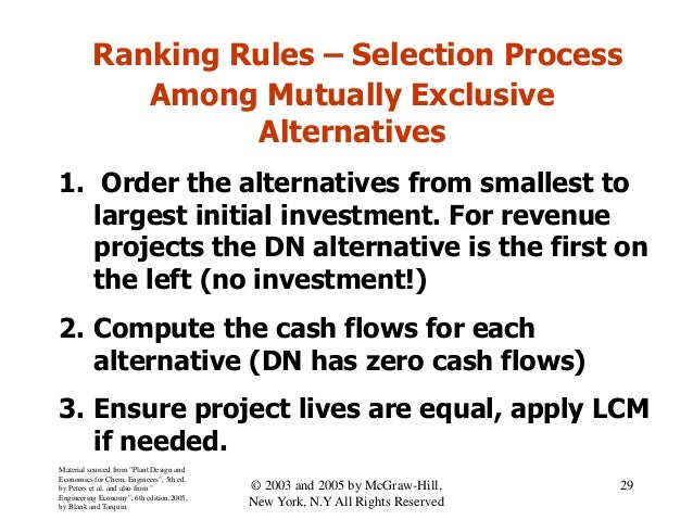 Ranking Rules – Selection Process Among Mutually Exclusive Alternatives 1. Order the alternatives from smallest to largest...