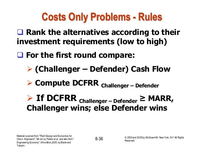 Costs Only Problems - Rules  Rank the alternatives according to their investment requirements (low to high)  For the fir...