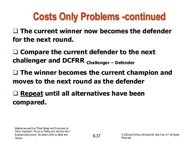 Costs Only Problems -continued  The current winner now becomes the defender for the next round.  Compare the current def...