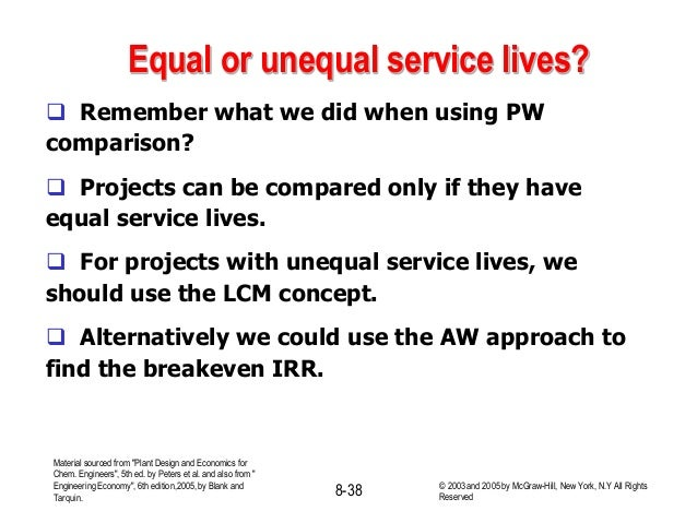 Equal or unequal service lives?  Remember what we did when using PW comparison?  Projects can be compared only if they h...
