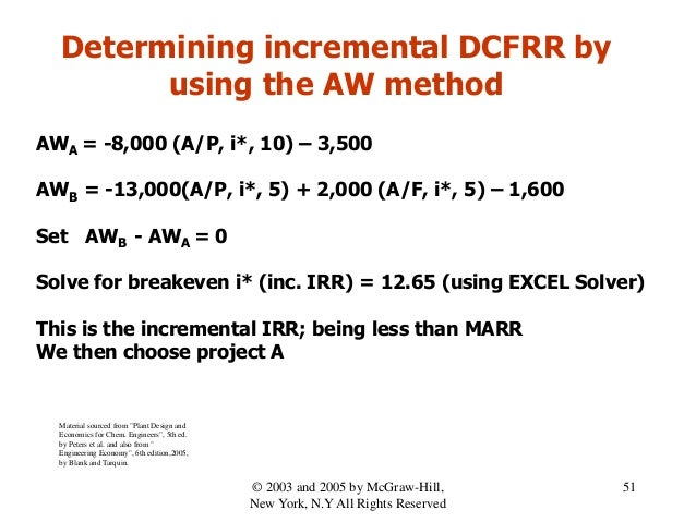 Determining incremental DCFRR by using the AW method AWA = -8,000 (A/P, i*, 10) – 3,500 AWB = -13,000(A/P, i*, 5) + 2,000 ...