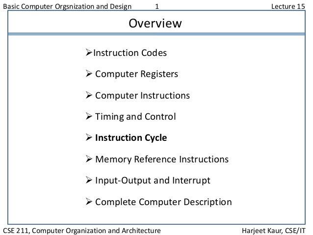 Basic Computer Orgsnization and Design 1 Lecture 15 CSE 211, Computer Organization and Architecture Harjeet Kaur, CSE/IT O...