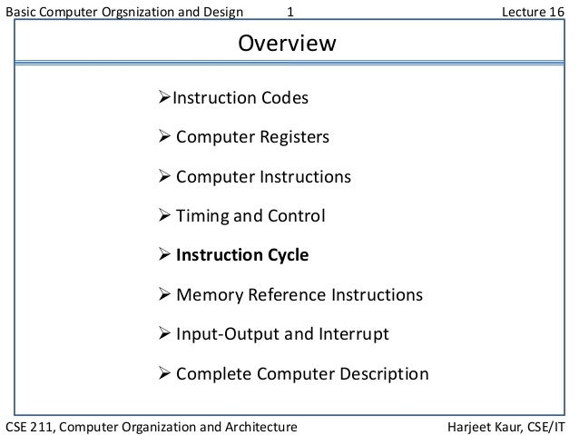 Basic Computer Orgsnization and Design 1 Lecture 16 CSE 211, Computer Organization and Architecture Harjeet Kaur, CSE/IT O...