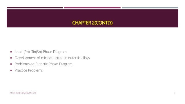 CHAPTER 2(CONTD.)  Lead (Pb)-Tin(Sn) Phase Diagram  Development of microstructure in eutectic alloys  Problems on Eutec...