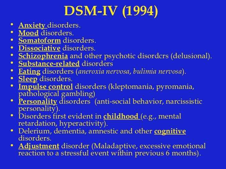 define the major dsm iv tr categories of anxiety somatoform and dissociative disorders Somatoform and dissociative disorders - dsm-iv-tr somatoform and dissociative disorders learning objectives 1 identify the defining features of somatoform disorders and distinguish the major features of hypochondriasis from illness phobia and somatization disorder.