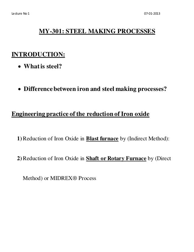 ironmaking and steelmaking theory and practice pdf
