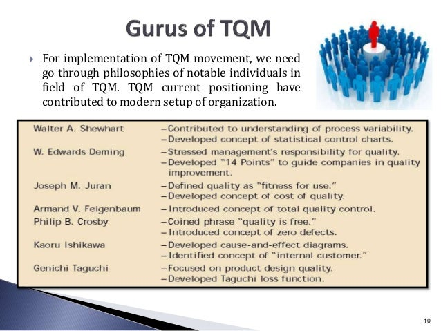  For implementation of TQM movement, we need go through philosophies of notable individuals in field of TQM. TQM current ...