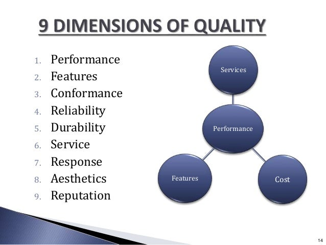 1. Performance 2. Features 3. Conformance 4. Reliability 5. Durability 6. Service 7. Response 8. Aesthetics 9. Reputation ...