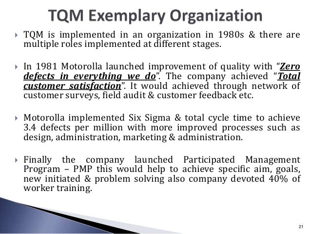  TQM is implemented in an organization in 1980s & there are multiple roles implemented at different stages.  In 1981 Mot...