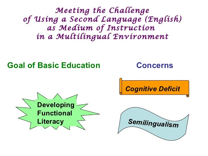 Meeting the Challenge  of Using a Second Language (English)  as Medium of Instruction  in a Multilingual Environment Goal ...