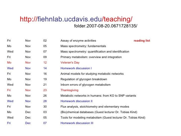 http://fiehnlab.ucdavis.edu/teaching/                             folder.2007-08-20.0671728135/Fri    Nov   02    Assay of...