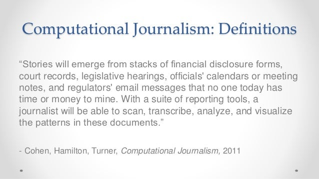 Frontiers of Computational Journalism week 1 - Introduction and High Dimensional Data Slide 2