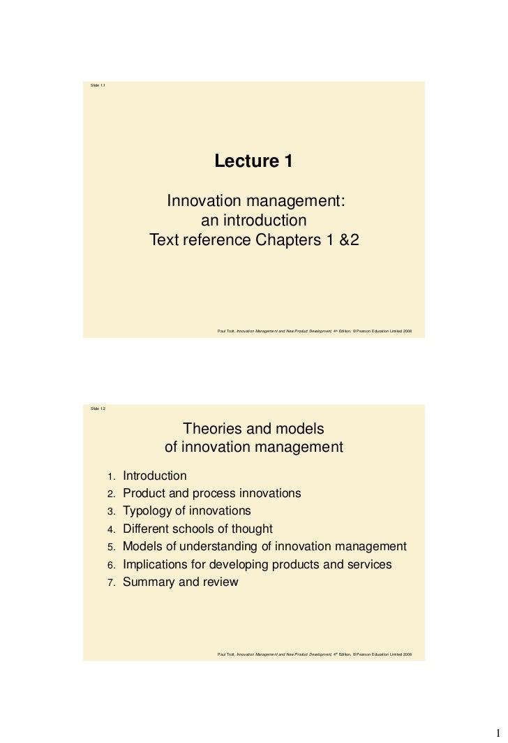 Slide 1.1                                Lecture 1                       Innovation management:                           ...