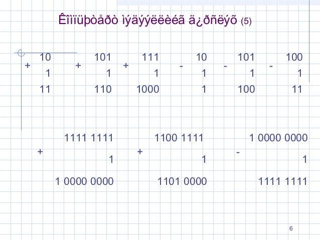 Êîìïüþòåðò ìýäýýëëèéã ä¿ðñëýõ +  10 1 11  +  101 1 110  +  111 1 1000  1111 1111 +  1 1 0000 0000  -  10 1 1  -  (5)  101 ...