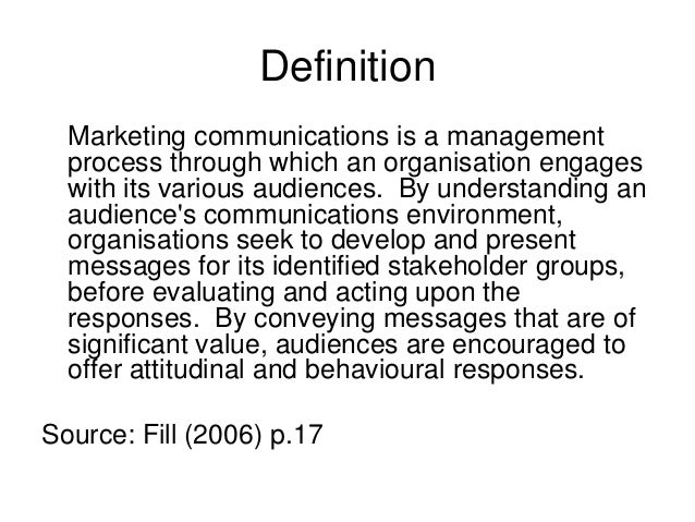 a description of the term integrated marketing and communication The concept of integrated marketing communication (imc) was introduced in the 1980s (schultz and schultz, p  community should decide on one term and one .