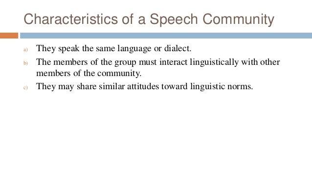 characteristics of a speech community